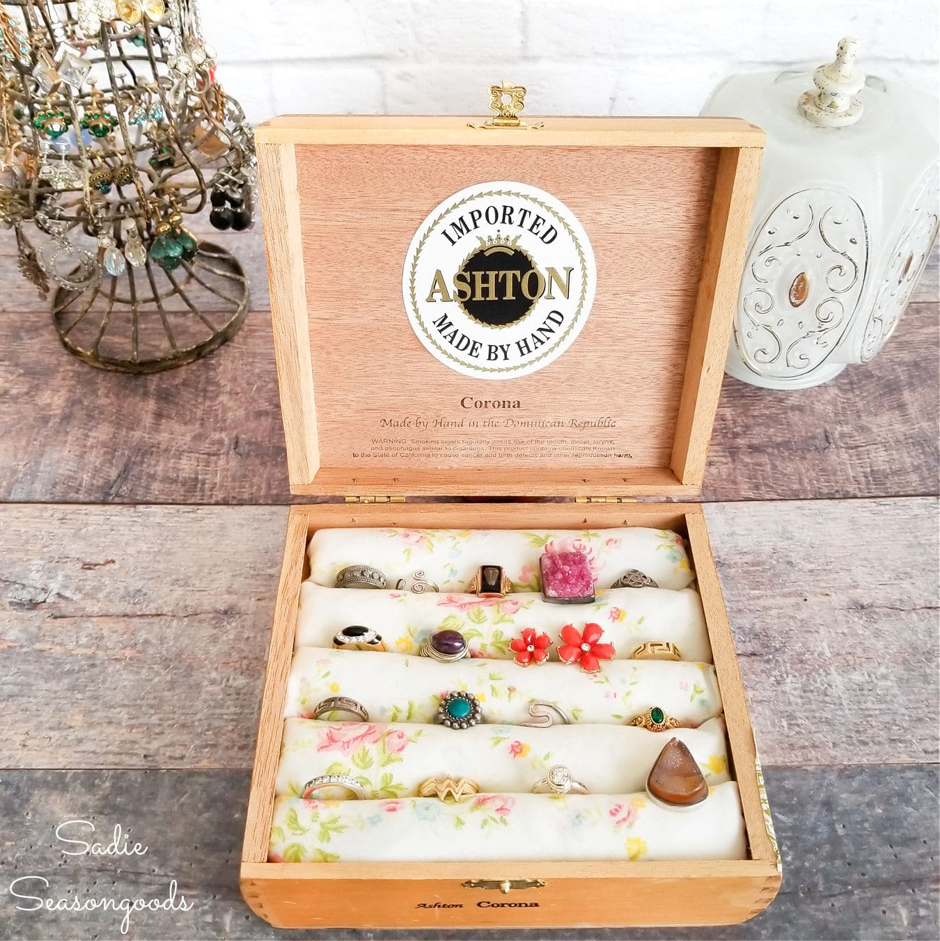 DIY Ring Holder in a Vintage Cigar Box