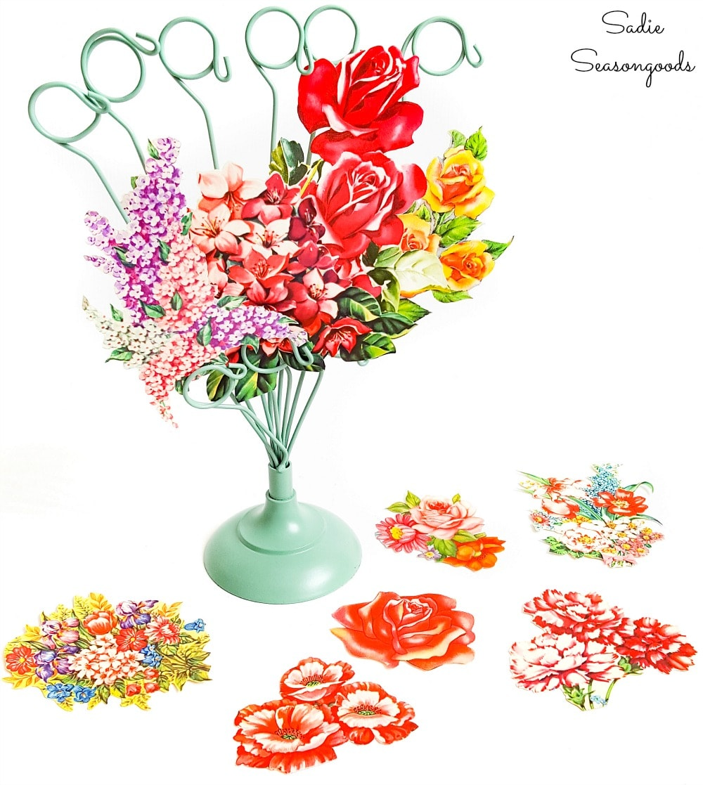 Easy paper flower bouquet from vintage greeting cards