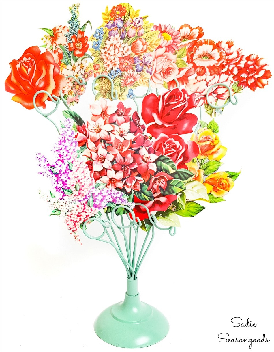 Recycled greeting cards as a paper flower bouquet