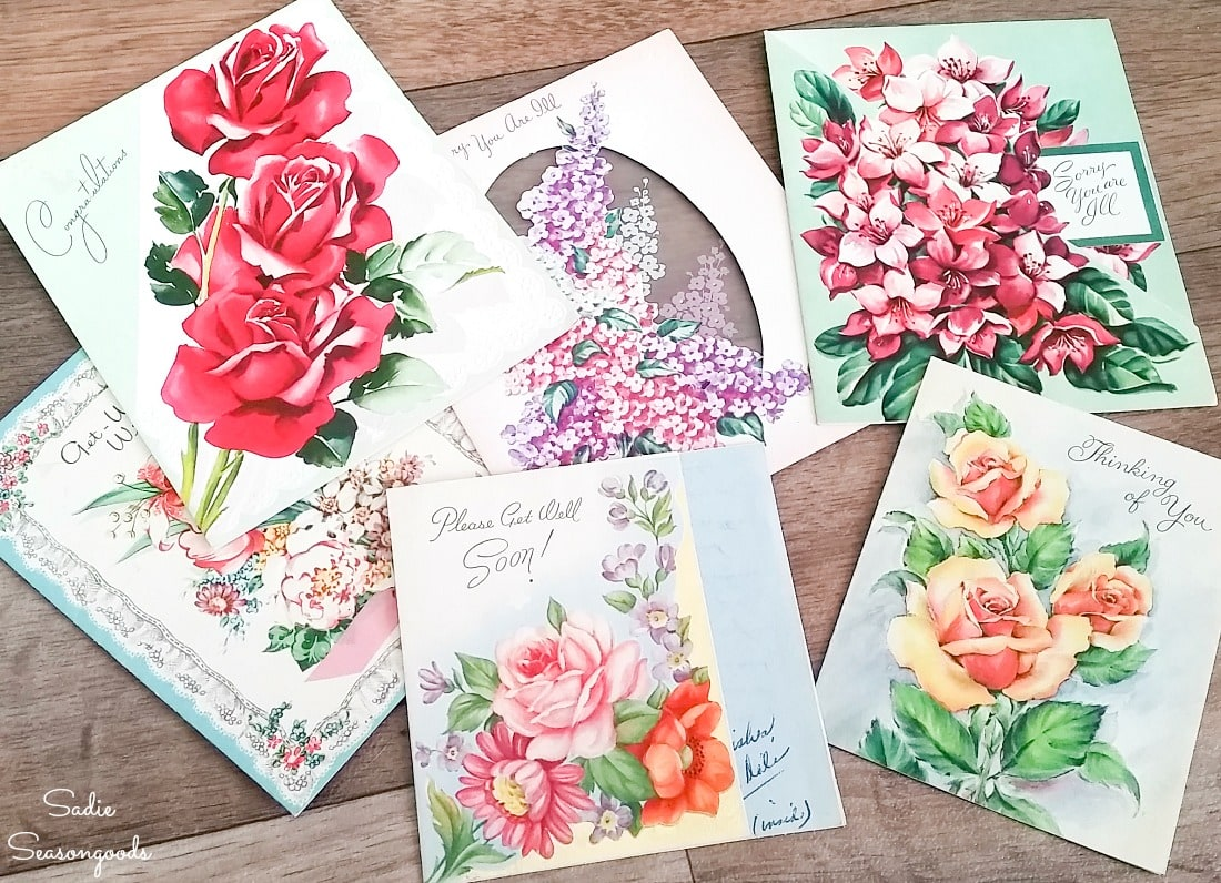 Vintage birthday cards with floral graphics