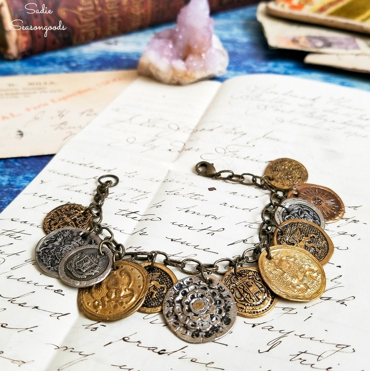 Metal Buttons for Coin Jewelry and a Boho Bracelet