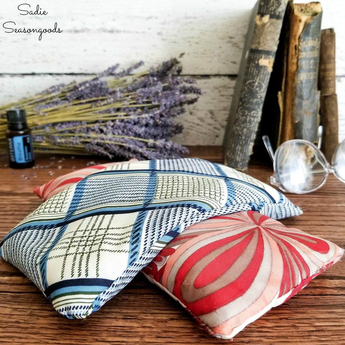 Lavender Eye Pillow from Vintage Fabric and Calming Essential Oils