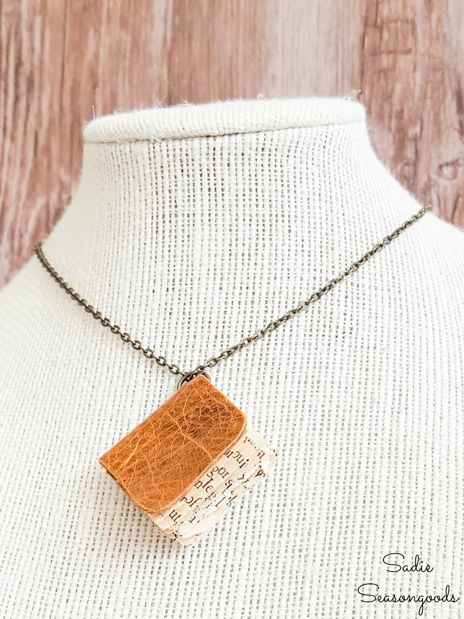 Book crafts with leather scraps to make a book necklace