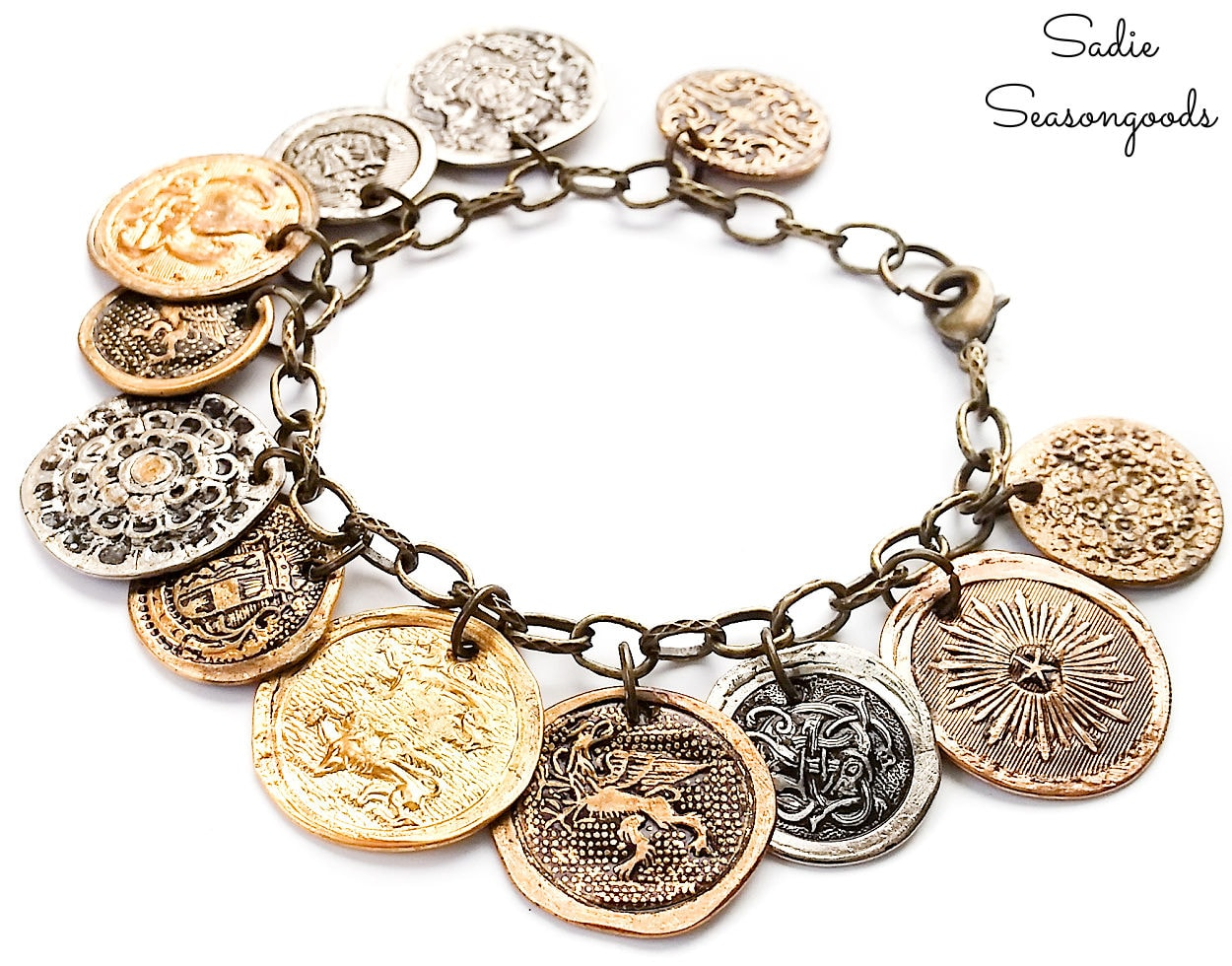 button bracelet that looks like old coins