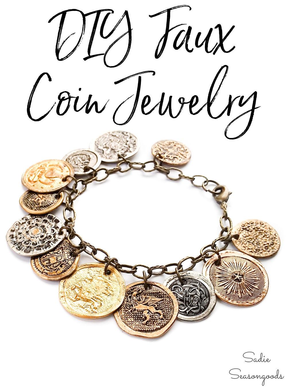 button bracelet that looks like vintage coins