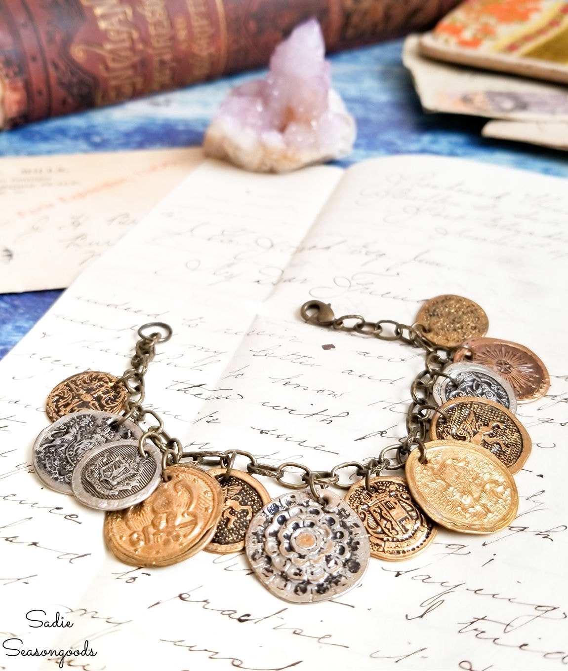 coin bracelet from vintage brass buttons