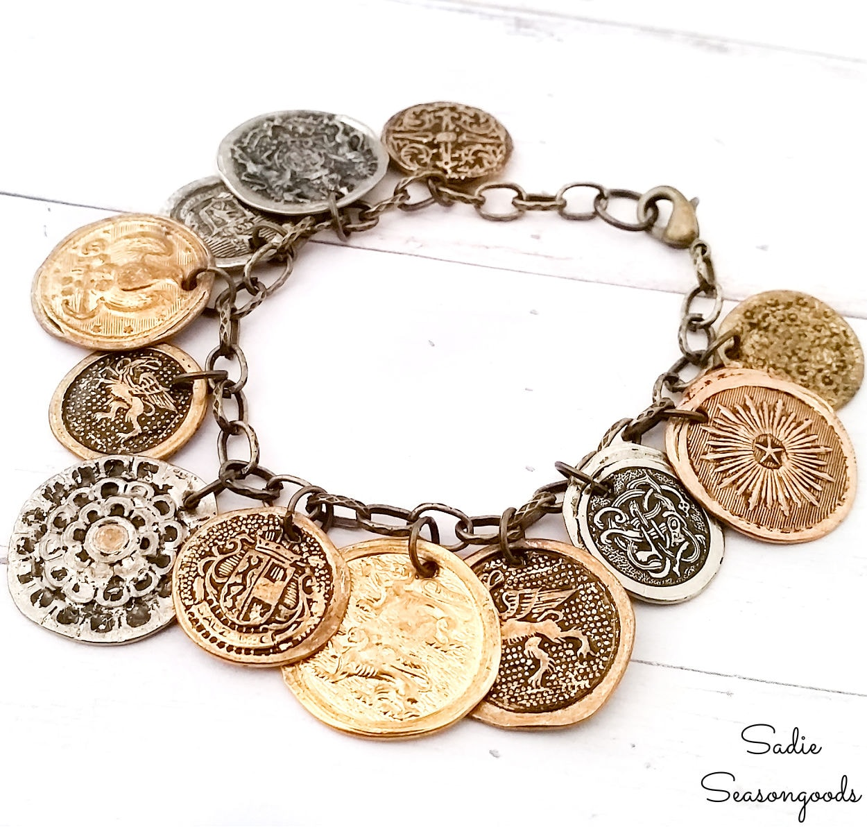 Coin Bracelet from Vintage Metal Buttons