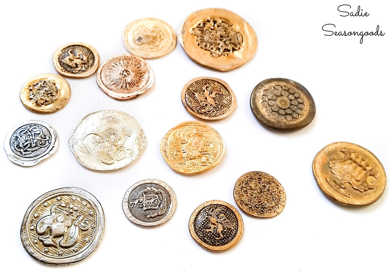 fake gold coins from vintage brass buttons