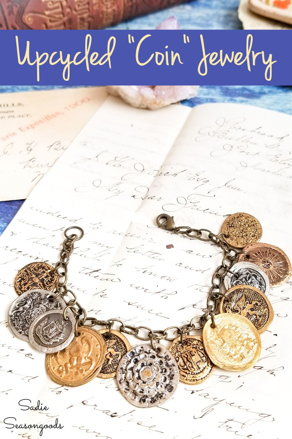 vintage brass buttons as a coin bracelet