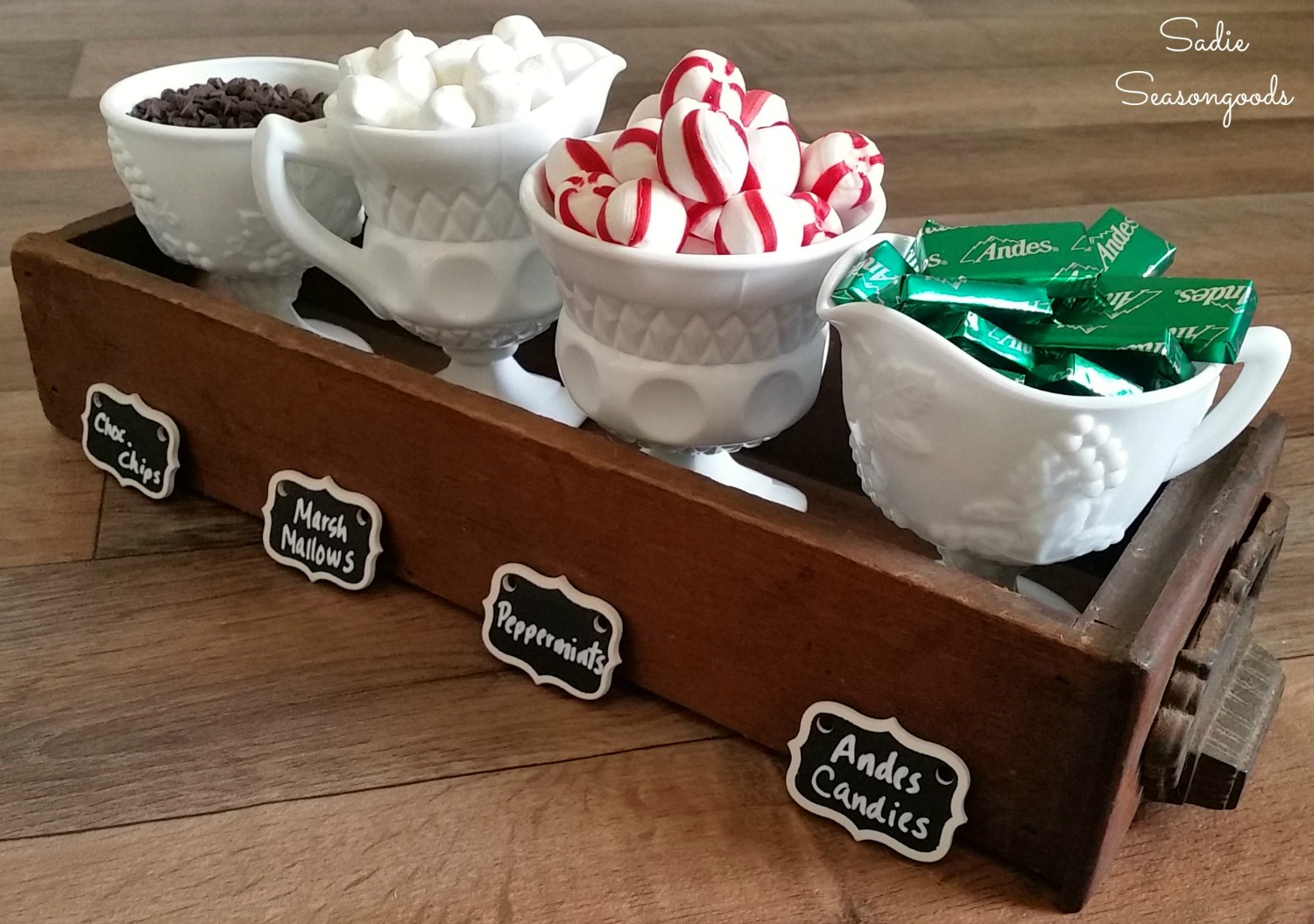 Library Card Catalog Drawer Condiment Set for a Hot Chocolate Bar