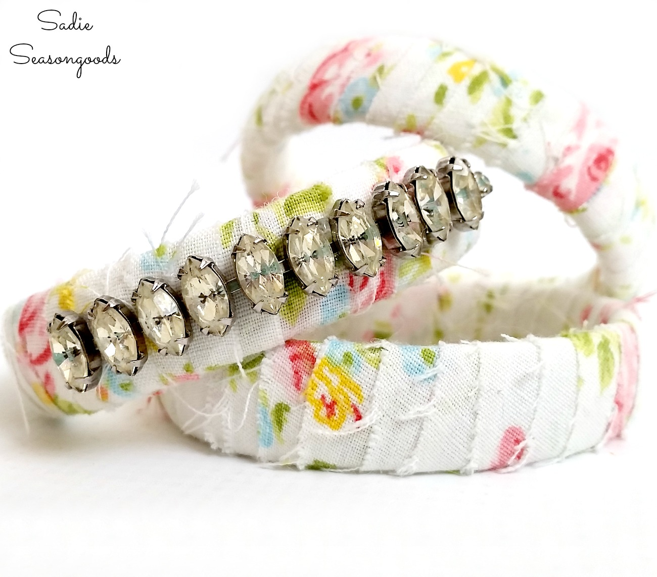 DIY Bracelets with Vintage Fabric and Broken Jewelry
