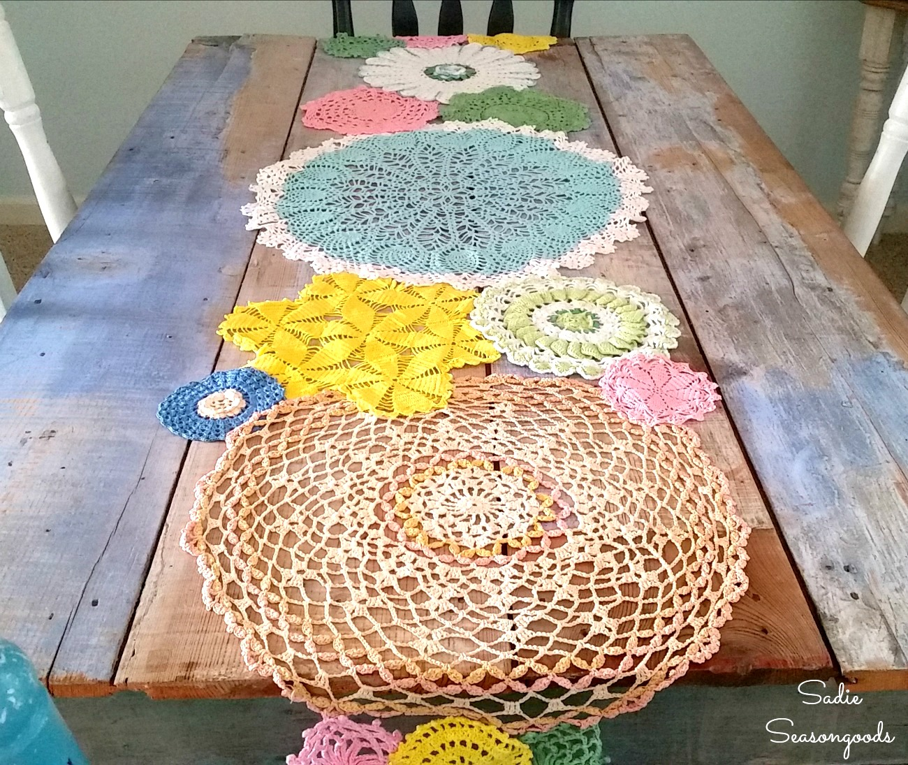 Spring Table Runner from Lace Doilies