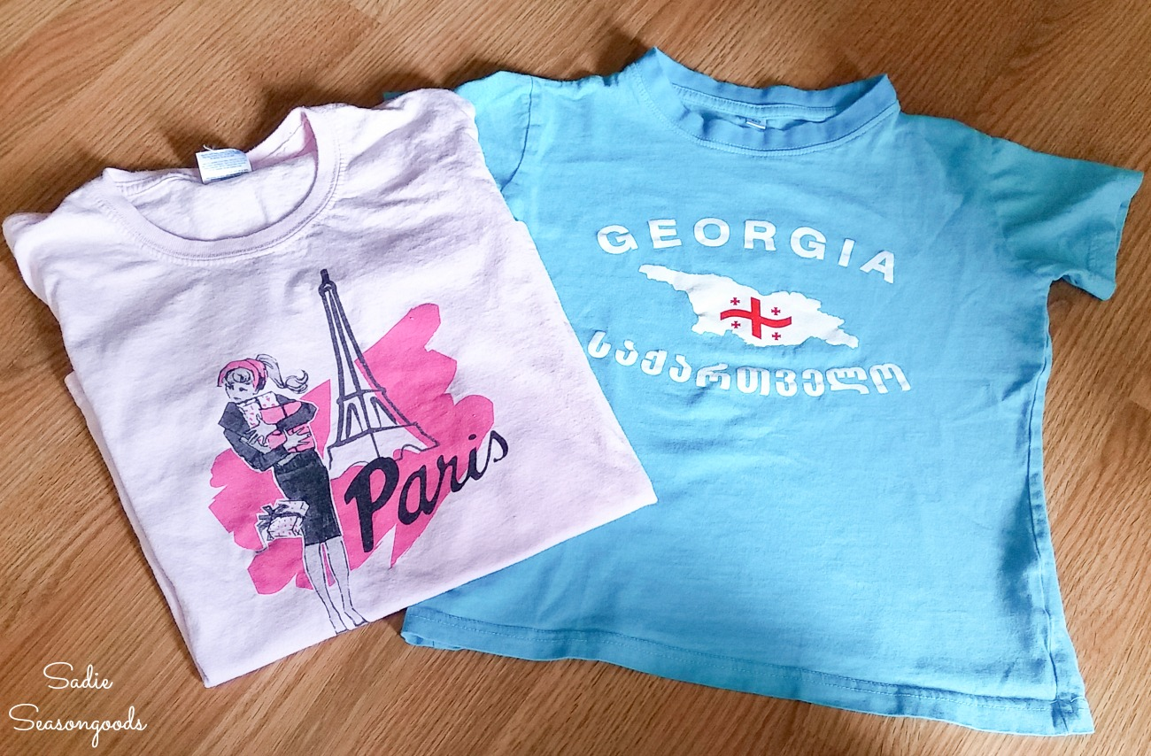 Kids graphic tees from a thrift store for upcycling into the cloth produce bags