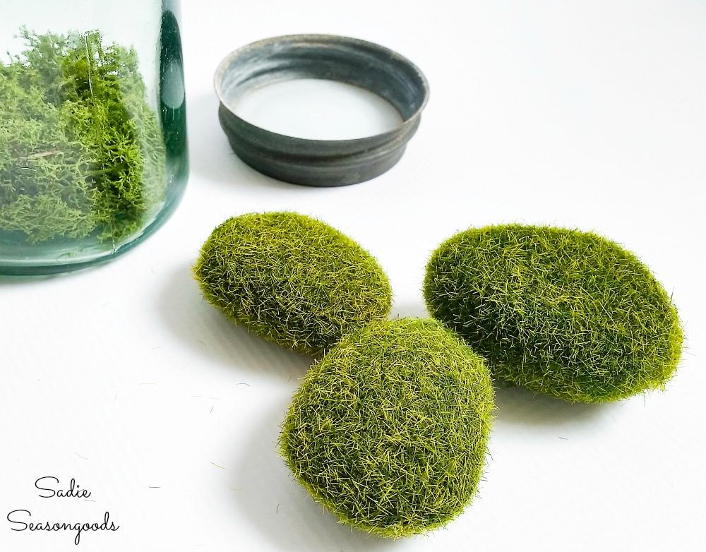 Moss rocks to go in a green mason jar for Irish home decor