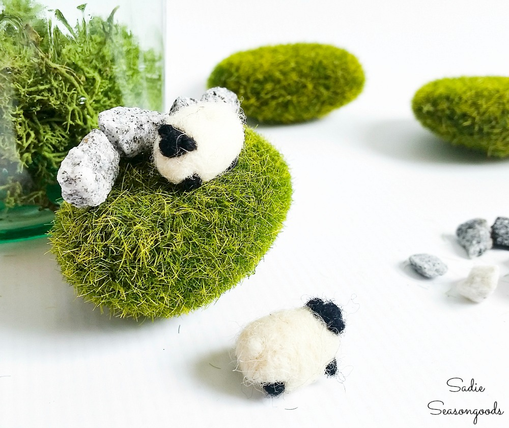 Needle felted sheep as Irish home decor in a green jar