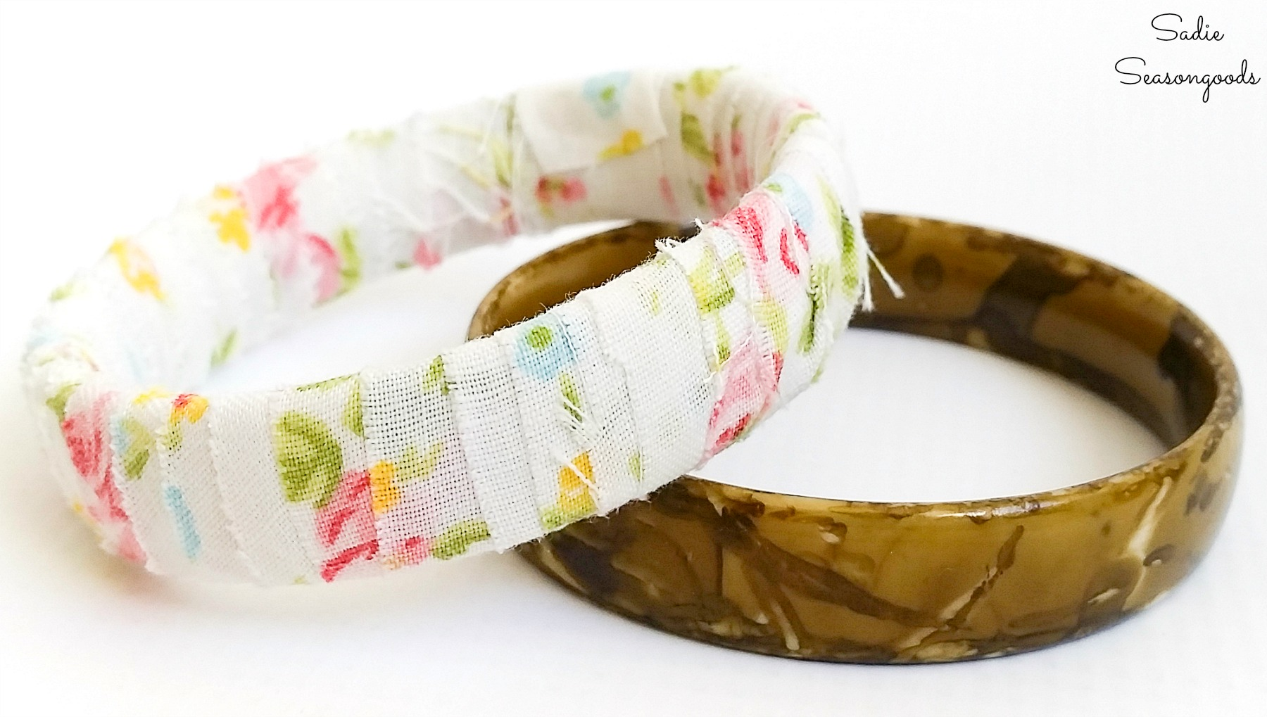 Recycled jewelry with plastic bangles as boho bracelets