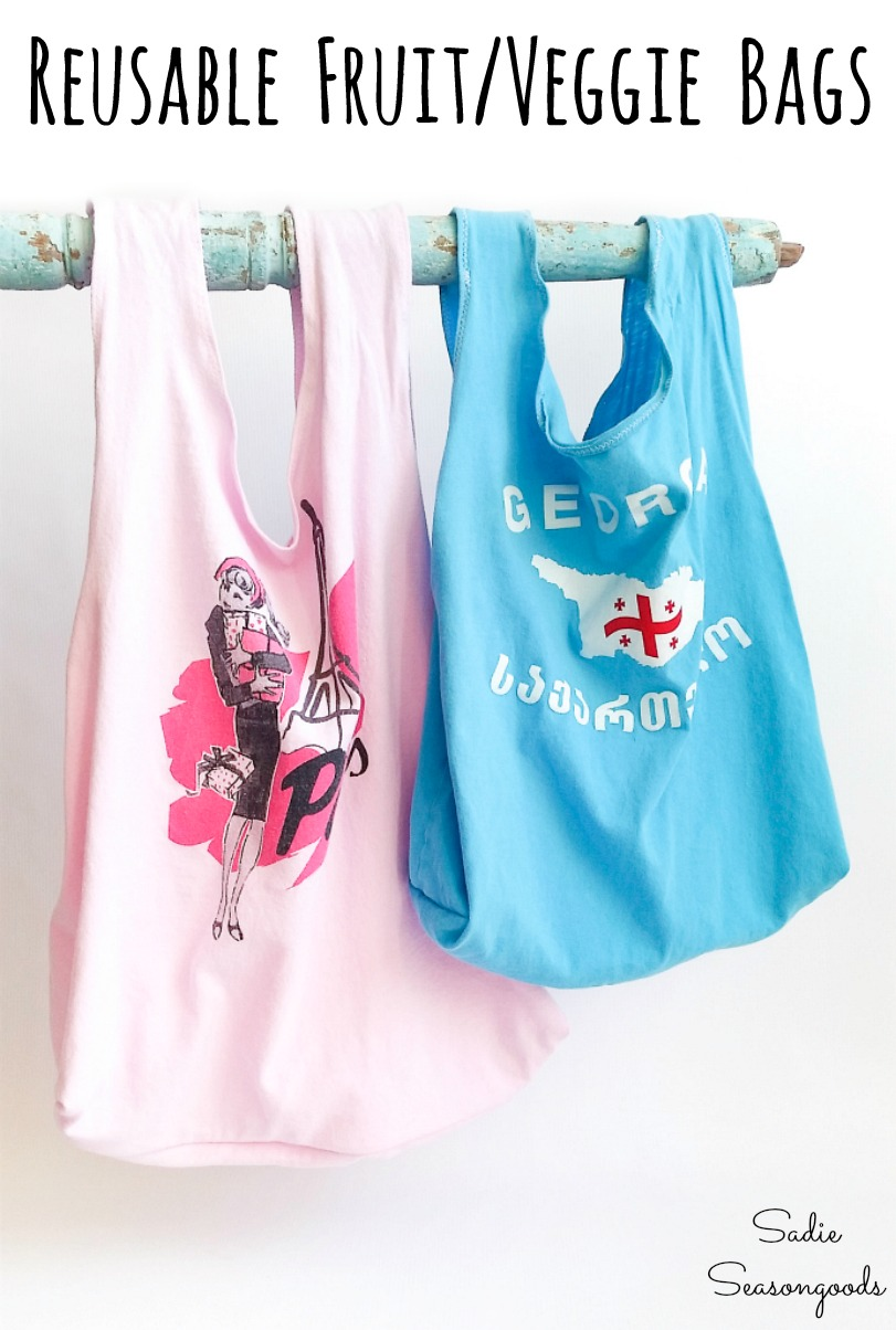 Recycling t shirts into cloth produce bags for fruit and vegetables