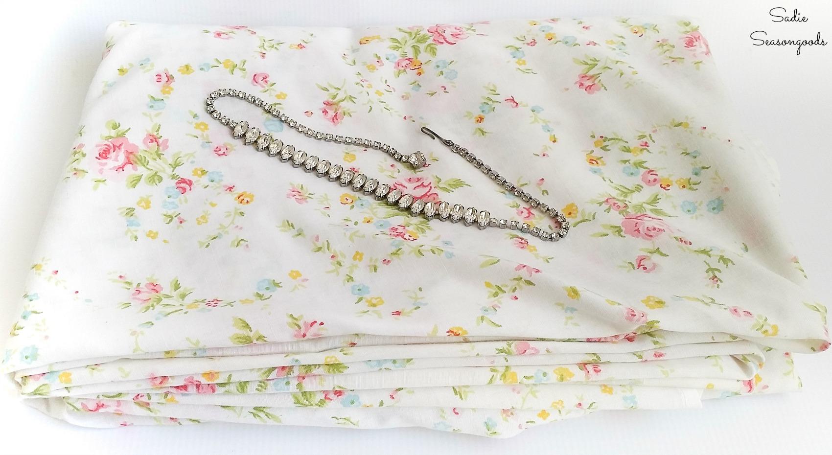 Vintage sheets and broken jewelry to make the Boho bracelets