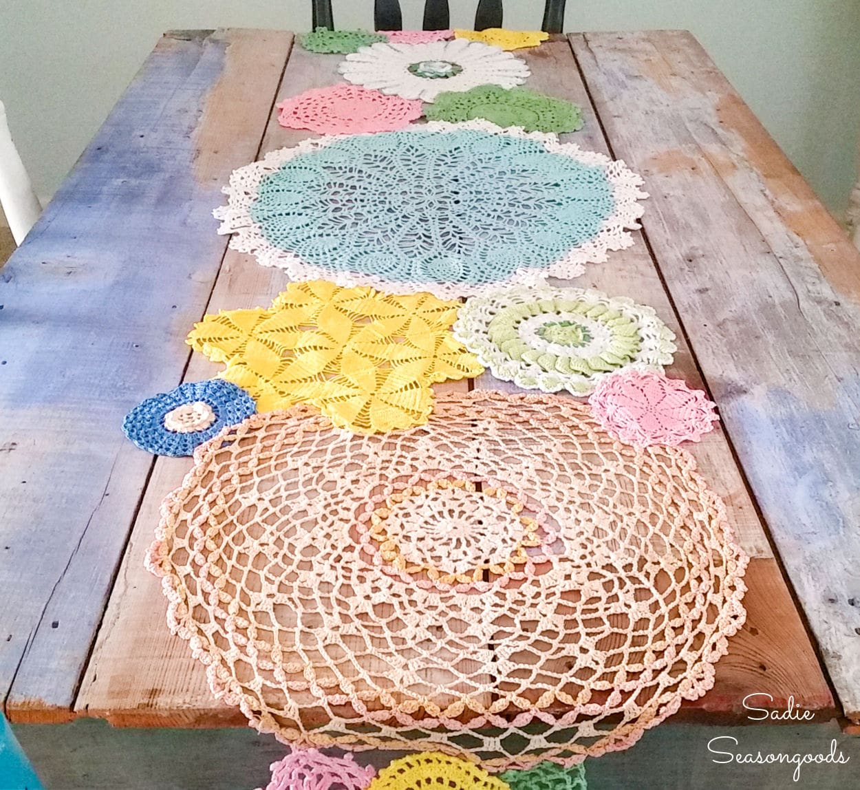 Doily Table Runner for Spring Decor