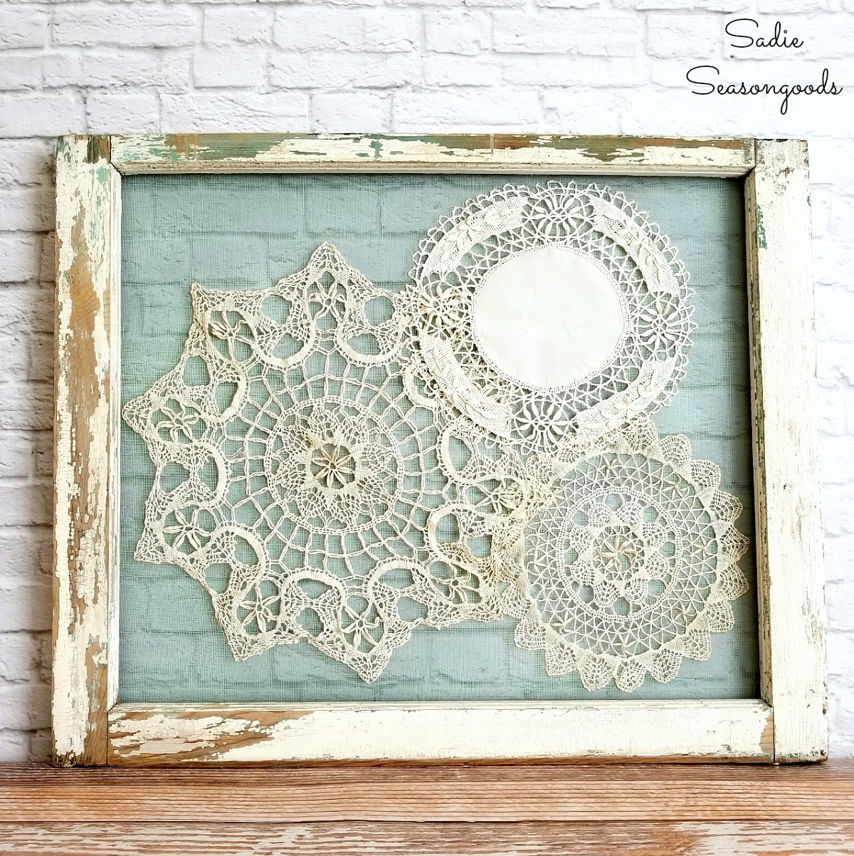 How to upcycle old windows into window frame decor using vintage crochet doilies by Sadie Seasongoods