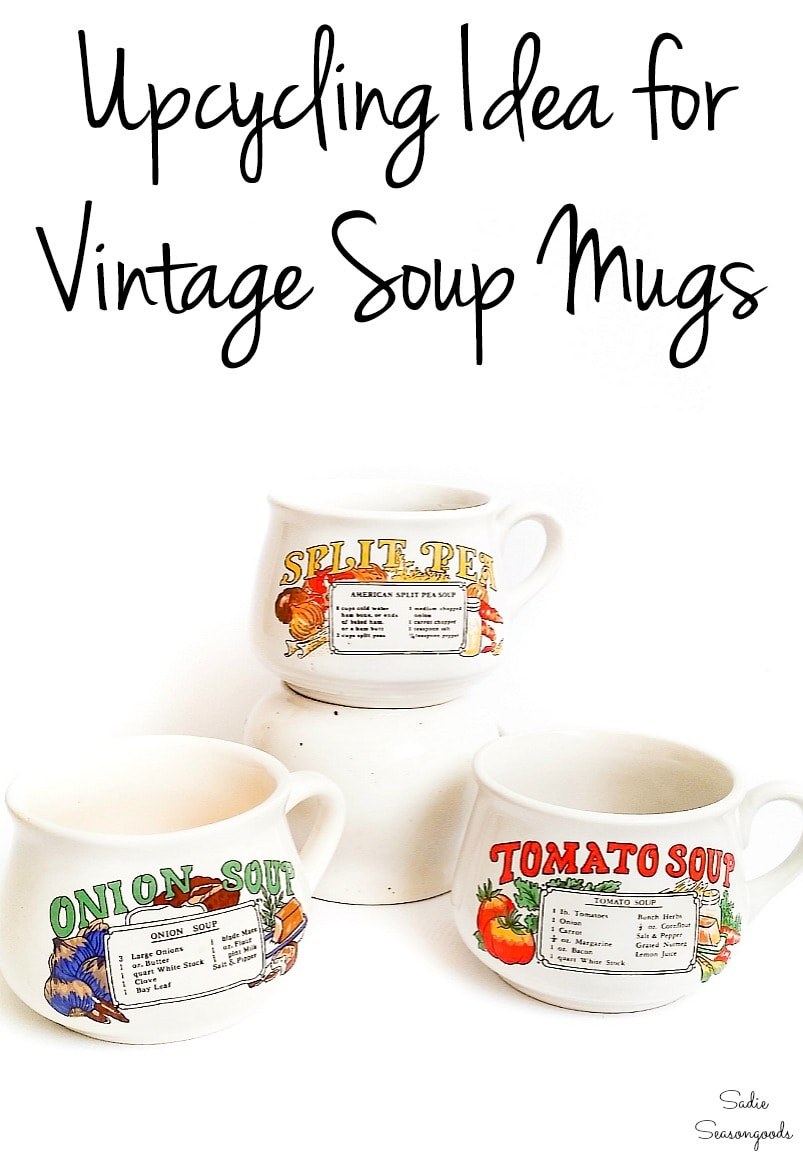 DIY gift idea with vintage soup mugs