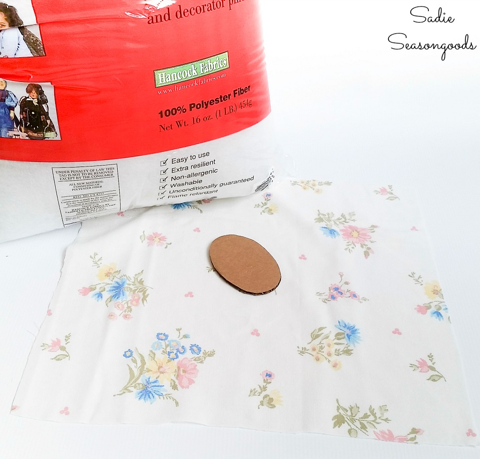 Fabric from a vintage bed sheet to be upcycled into a DIY pin cushion as sewing gifts
