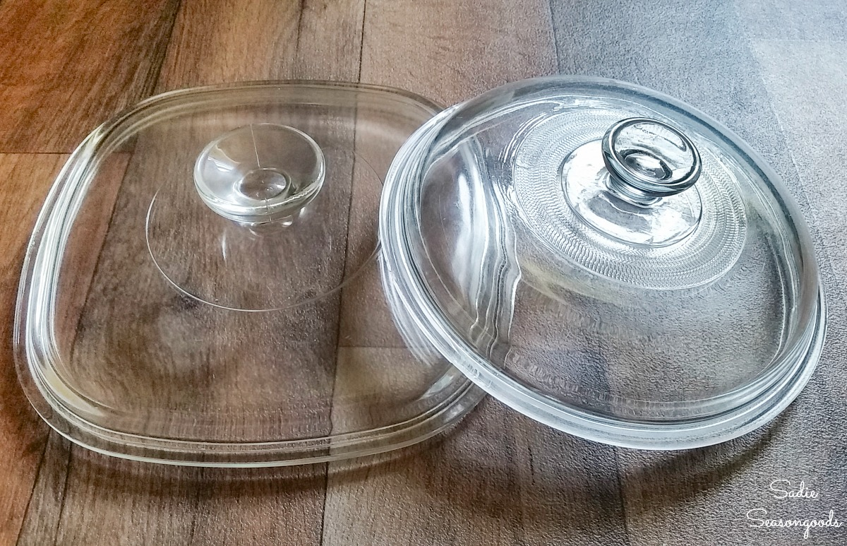 Glass lids from the thrift store for upcycling ideas