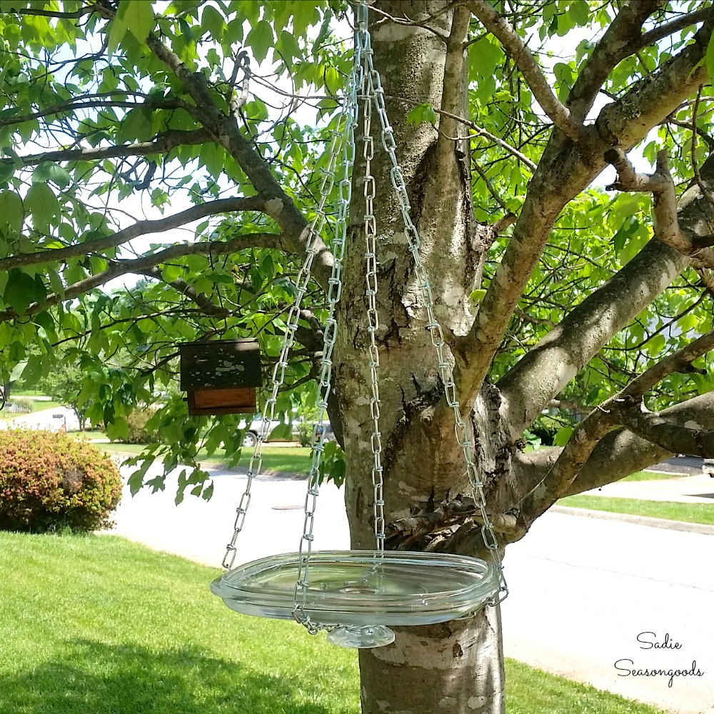 Hanging Bird Bath from a Casserole Dish Lid