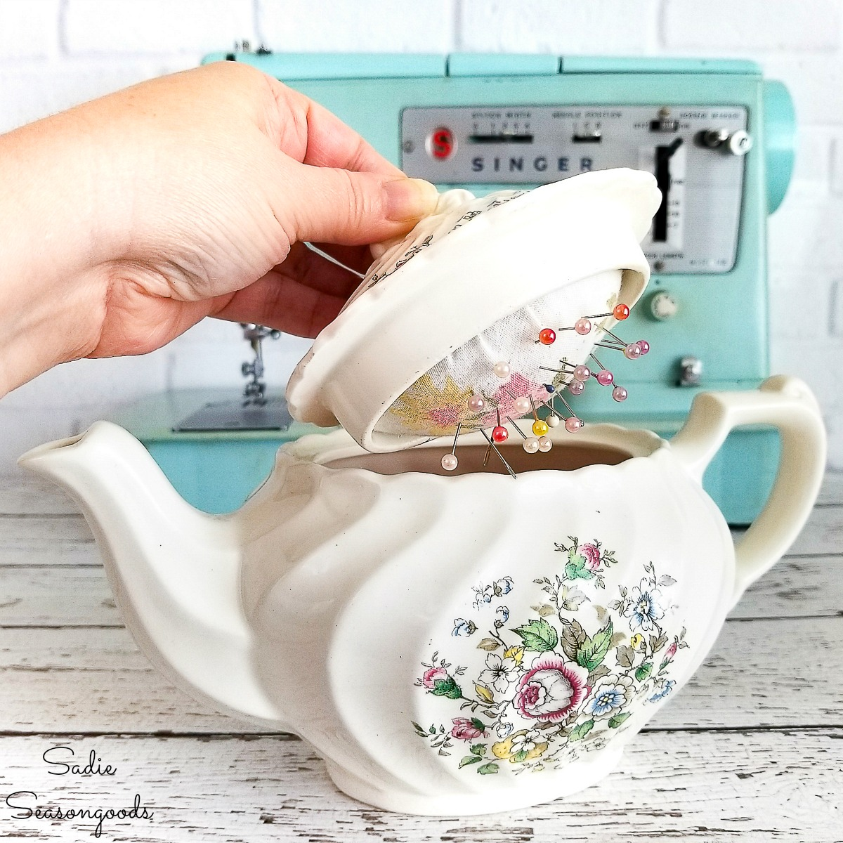 How to upcycle a vintage teapot into a sewing caddy with DIY pin cushion or needle cushion for sewing supplies