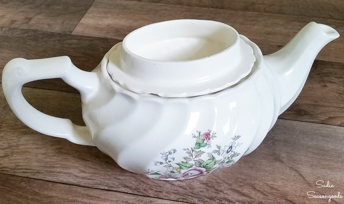 Making a needle cushion or pin cushion to put inside the lid of a vintage teapot
