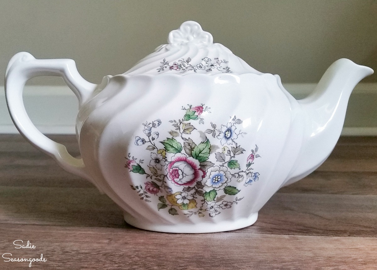 Vintage teapot from the thrift store for upycling into a needle cushion and sewing caddy