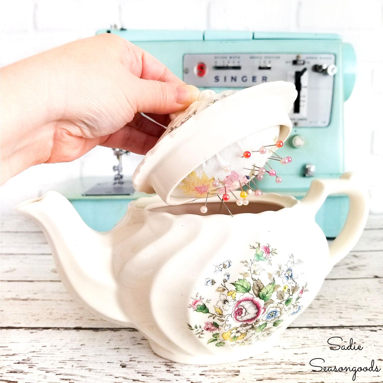 DIY Pin Cushion in a Vintage Teapot