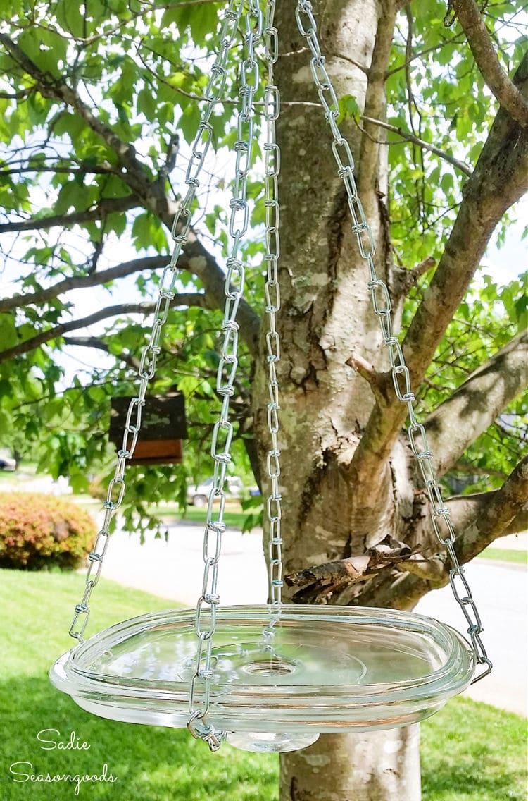 how to make a diy hanging bird bath