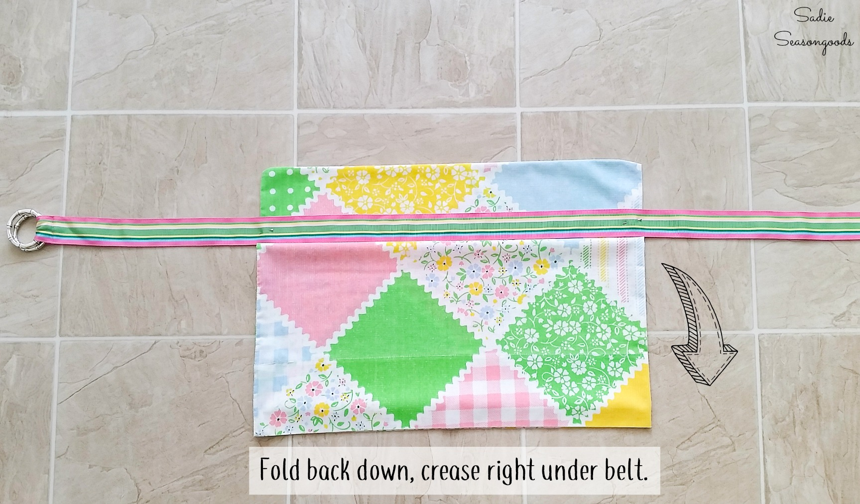 Creating a waist apron with pocket flap from vintage fabric