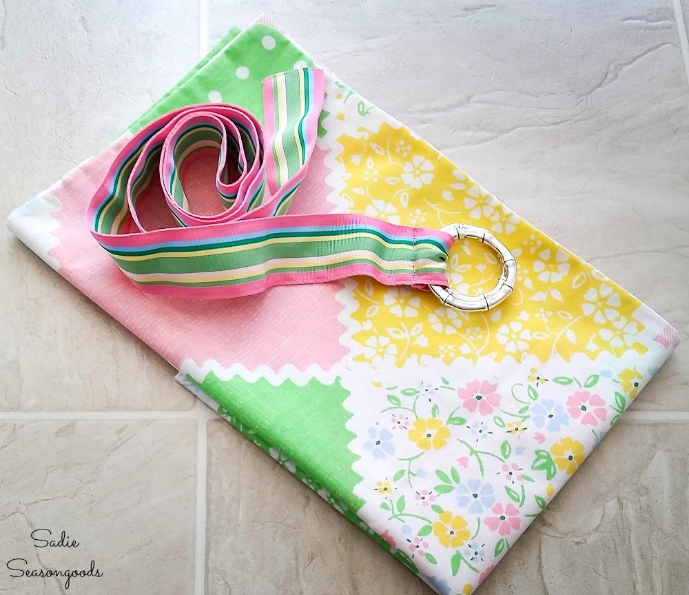 Vintage pillowcase and ribbon belt to make a waist apron
