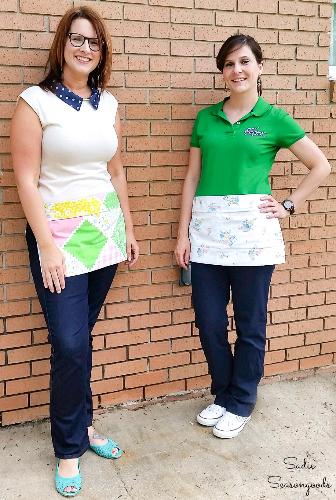 Vintage pillowcases as server aprons or waist aprons