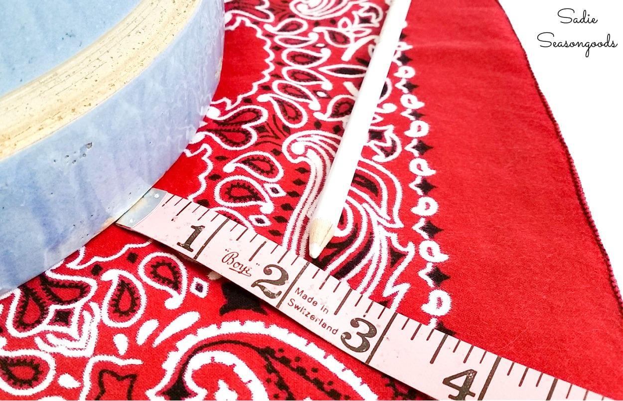 measuring a bandana bowl cover