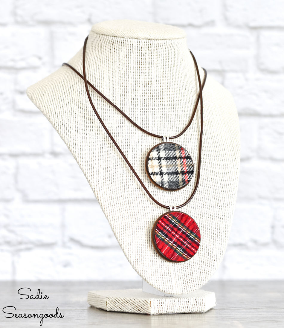 upcycled jewelry from flannel shirts