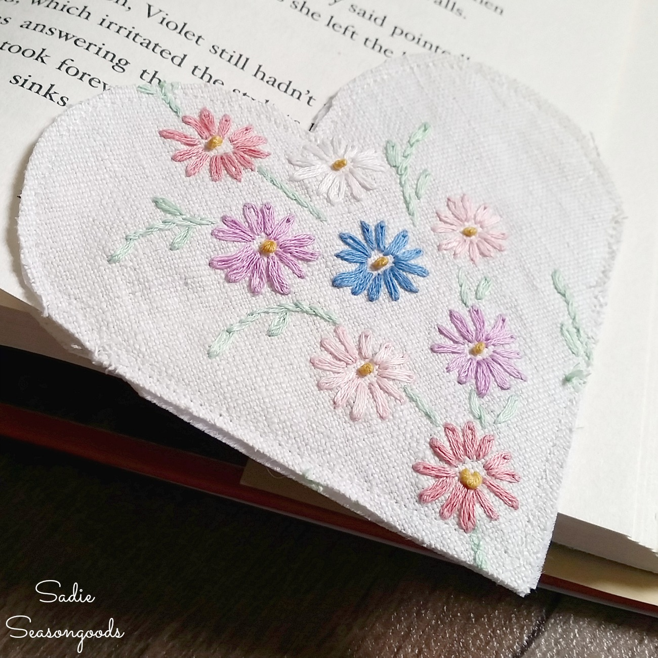 Making a Bookmarker from Embroidered Linens that are Damaged