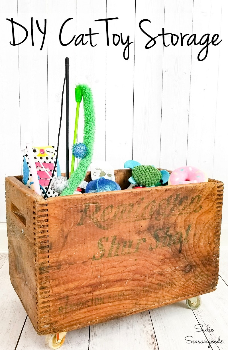 Cat toy storage for wand cat toys
