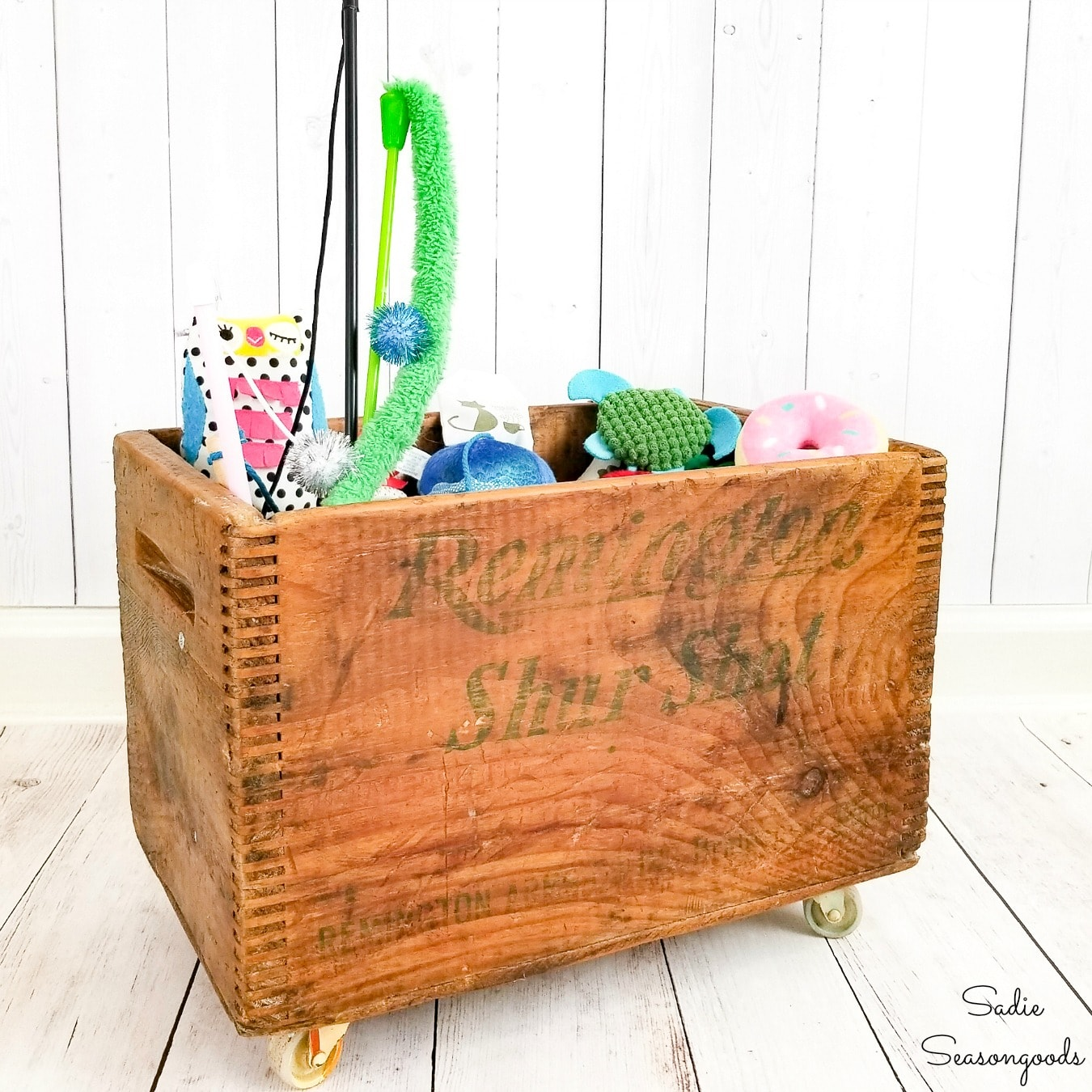 Cat Toy Storage in a Vintage Wooden Crate