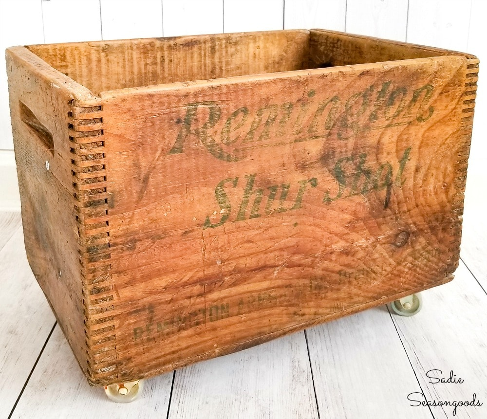 Vintage crate on wheels