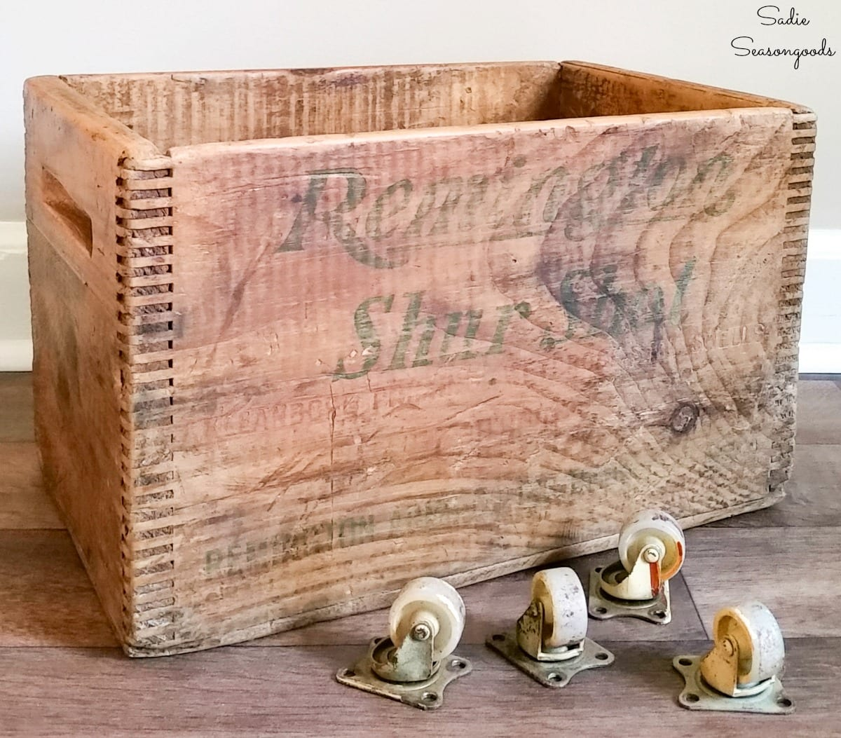 Vintage wooden crate and vintage casters