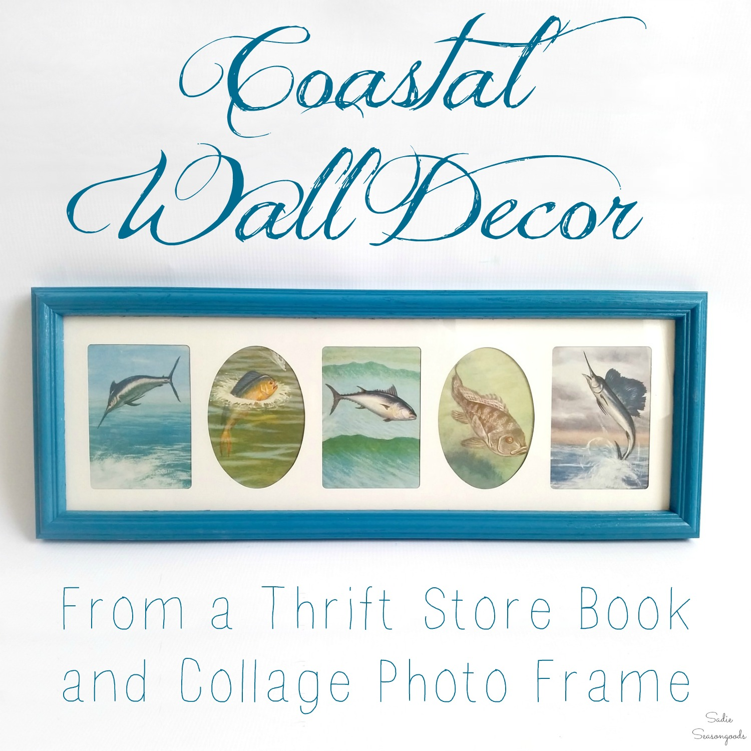 Coastal Wall Decor from a Thrift Store Book