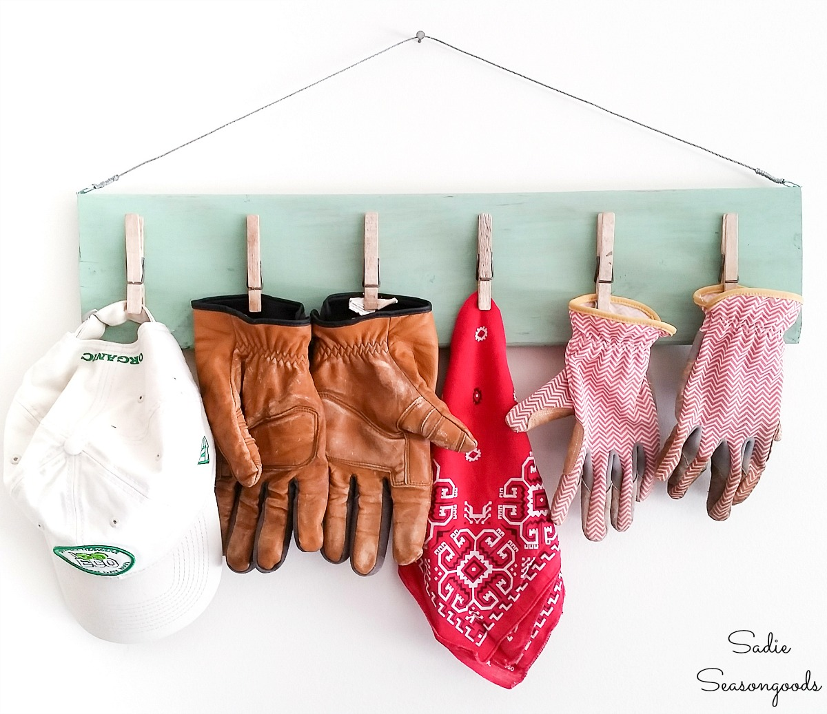 DIY Clipboard for gardening gloves to hang in the garage
