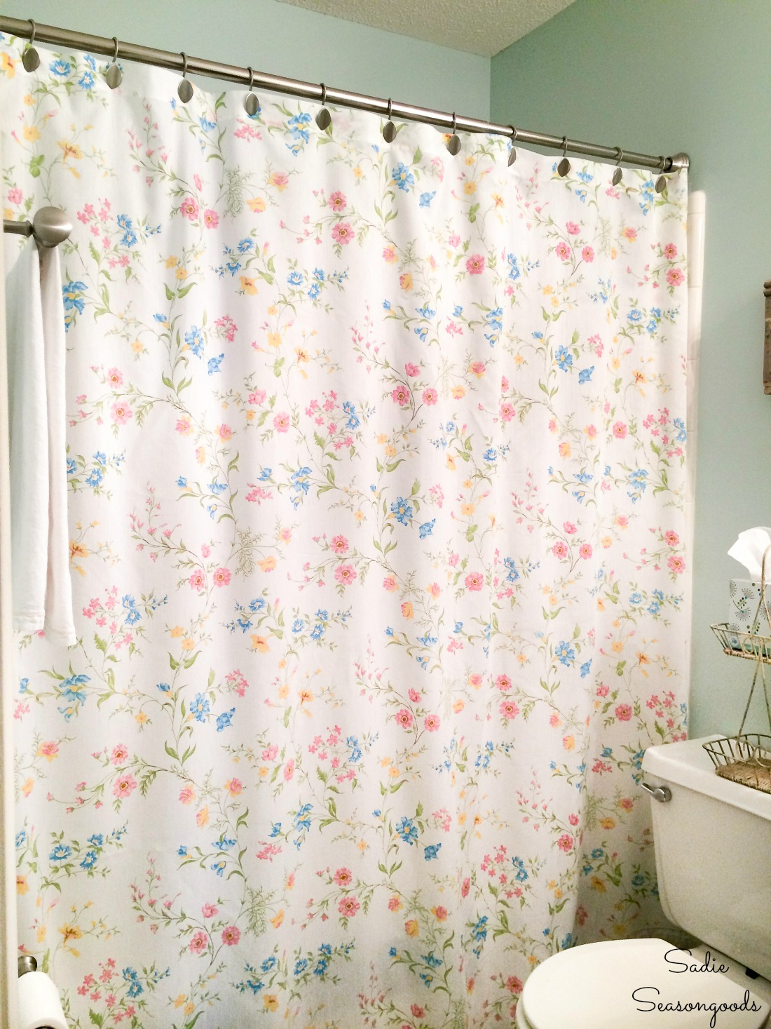 Floral Shower Curtain from Vintage Sheets for a Cottage Style Bathroom