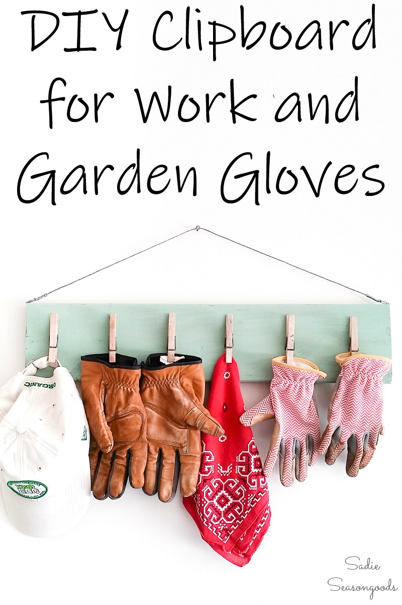 Hanging Clipboard for gardening gloves and garage organization