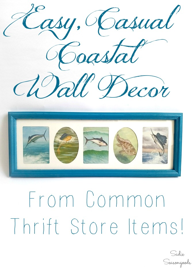 Upcycling a thrift store book and multi photo frame or collage photo frame into coastal wall decor by Sadie Seasongoods