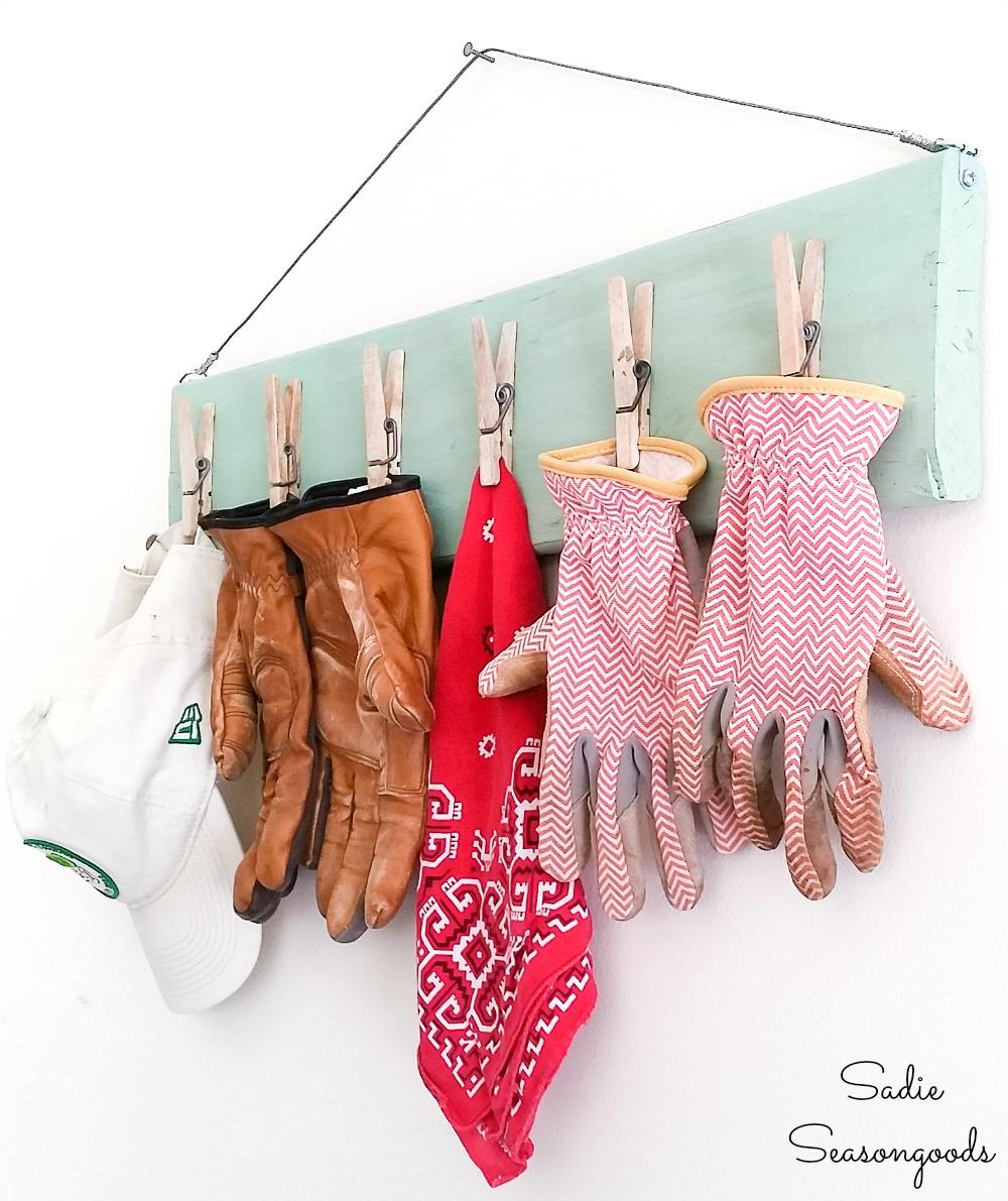 Wooden clipboard and garage wall organizer for gardening gloves