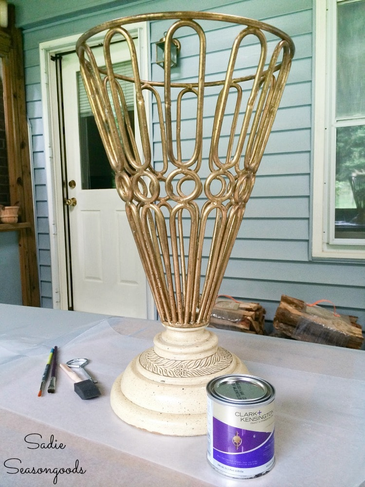 Painting an outdoor urn to look like faux wrought iron